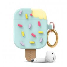 Силиконовый чехол c карабином для AirPods Elago Ice Cream Mint