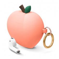 Силиконовый чехол c карабином для AirPods Elago Peach Peach