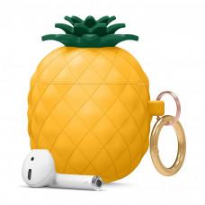 Силиконовый чехол c карабином для AirPods Elago Pineapple Yellow