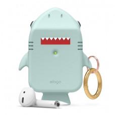 Силиконовый чехол c карабином для AirPods Elago Shark Baby Mint