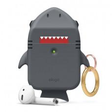 Силиконовый чехол c карабином для AirPods Elago Shark Dark Gray