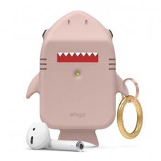 Силиконовый чехол c карабином для AirPods Elago Shark Sand Pink