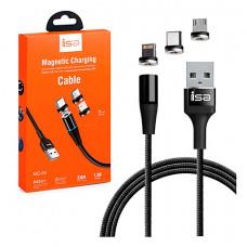 Кабель ISA Magnetic 3 in 1 USB - Lightning/Micro-USB/Type-C 1M Black