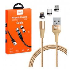 Кабель ISA Magnetic 3 in 1 USB - Lightning/Micro-USB/Type-C 1M Gold