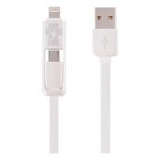 Кабель Remax Transformer USB-A - Lightning/Micro-USB 1M White