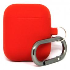 Силиконовый чехол c карабином для AirPods Hang Case Red