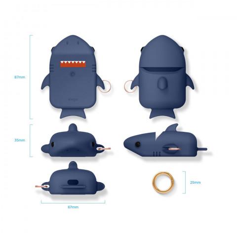 Силиконовый чехол c карабином для AirPods Elago Shark Jean Indigo