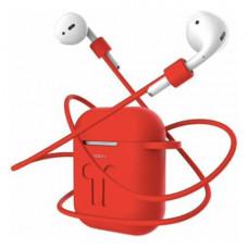 Силиконовый чехол c карабином и стрэпами для AirPods Rock Carrying Case Red